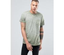 Solid T-Shirt mit Rundhalsausschnitt in Ölwaschung mit Brusttasche Grün