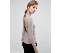Pullover mit Rückenausschnitt und Bindeschleife Steingrau
