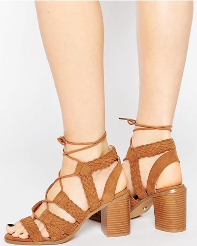 oasis damen sandalen mit schn rung und blockabsatz bronze. Black Bedroom Furniture Sets. Home Design Ideas
