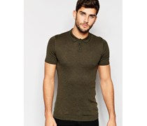 Gestricktes, khakifarbenes Muskel-Poloshirt Grün