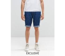 Brooklyn Supply Co Prospect Schmale Shorts mit Laser-Print Blau