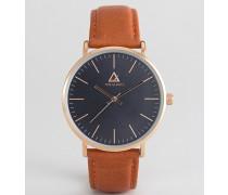 Uhr mit klassischem Zifferblatt und Lederarmband Braun