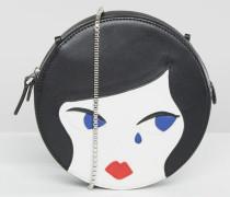 Doll Face Runde Leder-Umhängetasche Schwarz