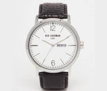 Portobello Uhr aus schwarzem Leder Schwarz