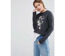 Sweat-Pullover mit Blumenstickerei Grau