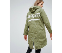 Parka mit Reckless-Print Grün