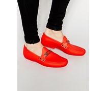 Loafer mit Logo und Sicherheitsnadelmotiv Rot