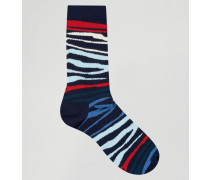Socken mit Zebramuster Blau