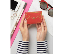 Kartenhalter aus Leder im Briefumschlagdesign Rot