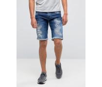 3301 Schmal zulaufende Shorts mit Abnutzungen Blau