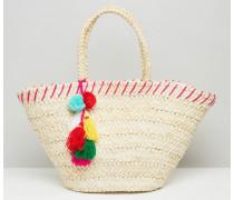 Strandtasche aus Stroh mit Bommel Cremeweiß