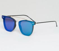Flache Sonnenbrille mit verspiegelten Gläsern und doppeltem Brauensteg in Silber Grün