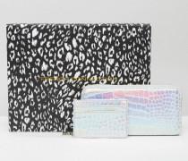 Geschenkbox mit Brieftasche und Kartenetui mit Kroko-Effekt in Metallic-Optik Silber