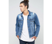Mittelblaue Jeansjacke mit Zierrissen Blau