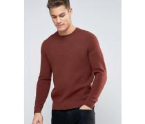 Strukturierter Pullover mit Rundhalsausschnitt Braun