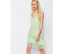 Premium Minikleid mit Spitze und Lagen Grün
