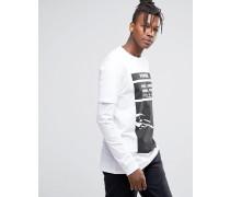 Langes, langärmliges Shirt mit Print im Lagen-Look Weiß