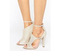 Glitzernde Peeptoe-Sandale mit hohem Absatz und mit Ausschnitten Beige