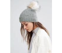 Varen Mütze mit Bommel Grau