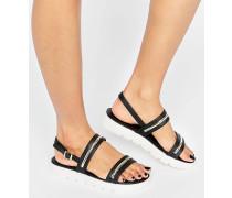 Needle Flache Sandalen mit Plateausohle Schwarz