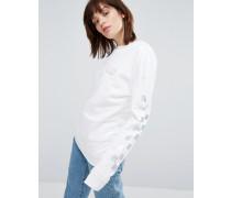 Sweatshirt mit Rundhalsausschnitt und karierten Ärmeln in holografischer Optik Weiß