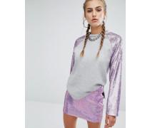 Raglan-Sweatshirt mit Meerjungfrau-Pailletten an den Ärmeln Kombiteil Grau