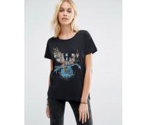 Boyfriend-T-Shirt mit Rock My World Gangsta-Print Schwarz