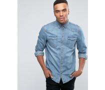Blaues Jeans-Westernhemd in regulärer Passform Blau