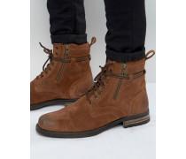 Stiefel aus hellbraunem Wildleder mit Wickelschnürung Bronze