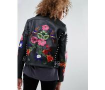 Hochwertige Leder-Bikerjacke mit Blumenstickerei und Nietenverzierung Schwarz