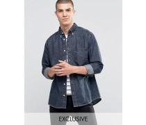 Brooklyn Supply Co Hemd mit Rissen in verwaschenem Schwarz Blau