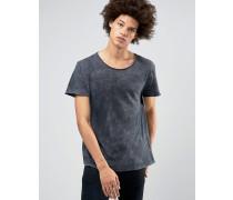 Jon T-Shirt mit Rollärmeln in Acid-Waschung Schwarz