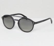Runde Sonnenbrille mit Brauensteg Schwarz