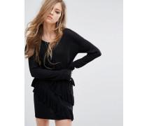 Pulloverkleid mit Rüschen Schwarz