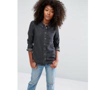 Jeanshemd in verwaschenem Schwarz Schwarz