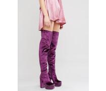 KEATS Overknee-Stiefel aus Samt mit Plateausohle Violett