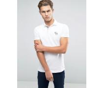 Schmal geschnittenes, weißes Polohemd mit Kontrastkragen undElch Weiß