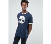 Ringer T-Shirt in Marineblau mit Logo Marineblau