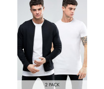 Jersey-Bomberjacke/T-Shirt in Schwarz/Weiß, RABATT Mehrfarbig