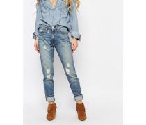 Jeans in Used-Optik mit hohem Bund Blau