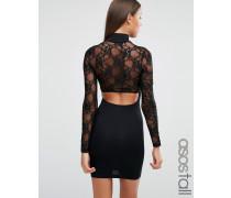 Langärmliges Minikleid aus Spitze mit Zierausschnitten hinten Schwarz