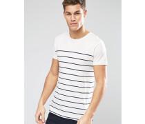T-Shirt mit Bretonenstreifen Weiß