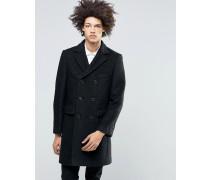 Premium Mantel aus gekochter Wolle Schwarz