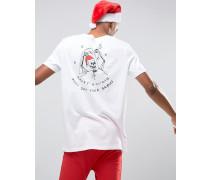 Christmas Lang geschnittenes T-Shirt mit Skelett-Weihnachtsbaumkugel-Print auf der Brust und am Rücken Weiß
