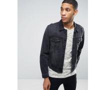 Denim-Jacke im Gebraucht-Look Schwarz