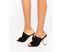 Schuhe mit goldenem Blockabsatz Schwarz