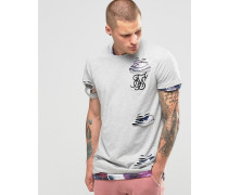 Doppellagiges T-Shirt im Used-Look Grau
