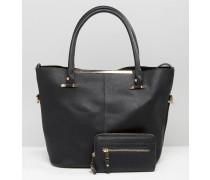 Einkaufstasche mit Goldbesatz Schwarz