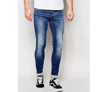 Lunar Superenge Jeans in mittlerer Distressed-Waschung Blau