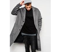 Mantel aus Wollmischung mit tiefen Schultern Grau